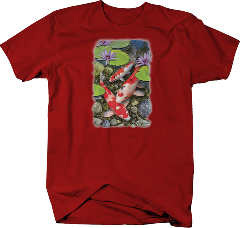 Koi Fish in Pond Lilly Red T-Shirt