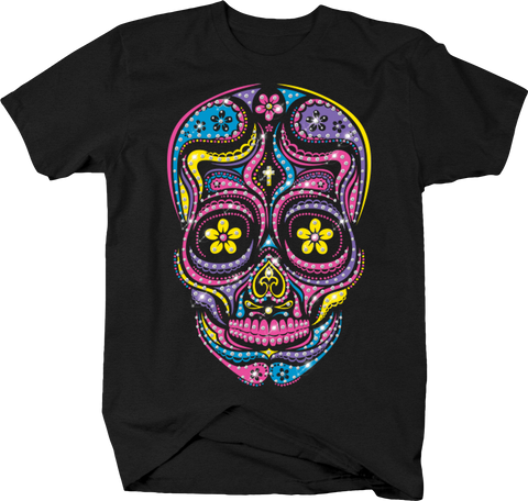 Paisley Skull Cross on Forehead Pink Yellow Purple Blue Sparkles