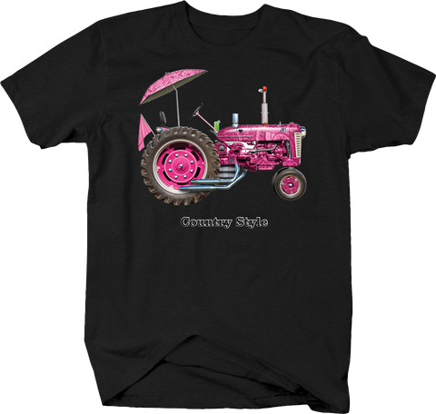 Country Style Pink Paisley Tractor Umbrella Country Girl Farming