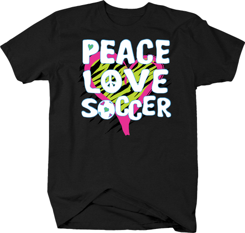 Peace Love Soccer Pink Green and Black Heart Goal Ball Kick Score