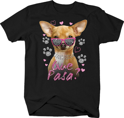 Que Pasa? Funny Chihuahua Puppy Dog Pink Glitter Heart Sunglasses
