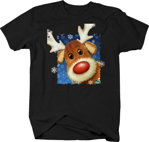 Cartoon Red Nose Reindeer Snowflakes Winter North Pole Christmas