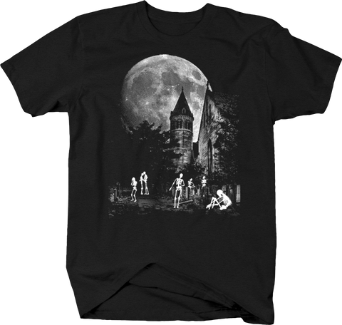 Haunted Castle Zombie Skeleton Walking Around Moonlight Spooky