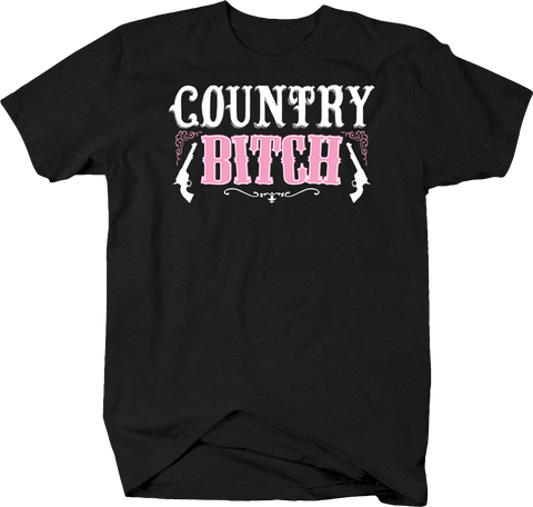 Country Bitch Redneck Rebel Freedom Cowgirl Revolver Pink