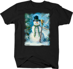 Snowman Holding Broom Stick in Broom Trees Winter Wonder Land