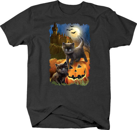 Spooky Halloween Black Cat Moonlight Bats Haunted Mansion