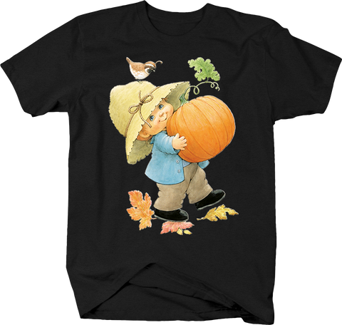 Little Kid Holding Pumpkin Walking Down Brown Bird Fall Leaves