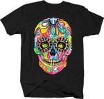 Multicolor Tie Dye Skull Day of Dead Colorful Spirtual Flowers