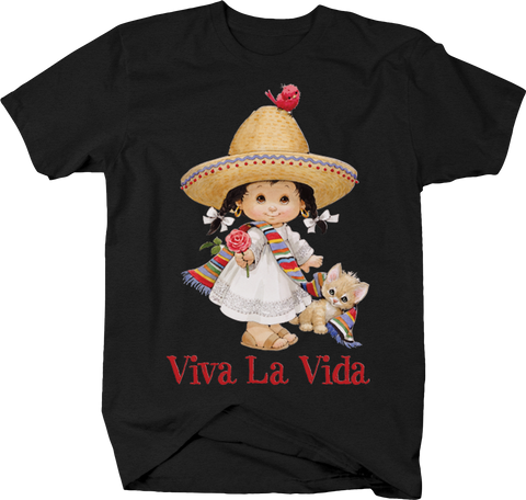 Viva La Vida Cute Little Mexican Girl Sombrero Cat Kitten Fiesta