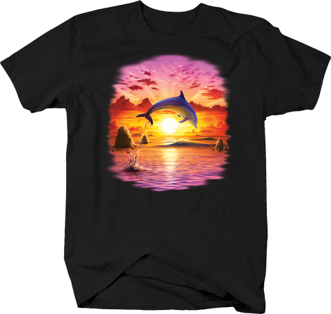 Dolphin Jumping Oout of Water Over the Pink and Orange Sunset