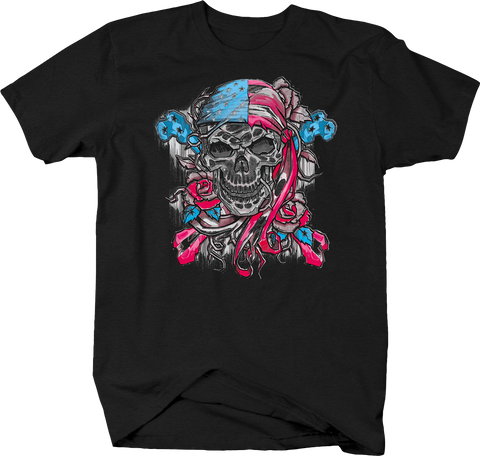 Pirate Skull with American Flag Banadana Roses Vines Freedom USA