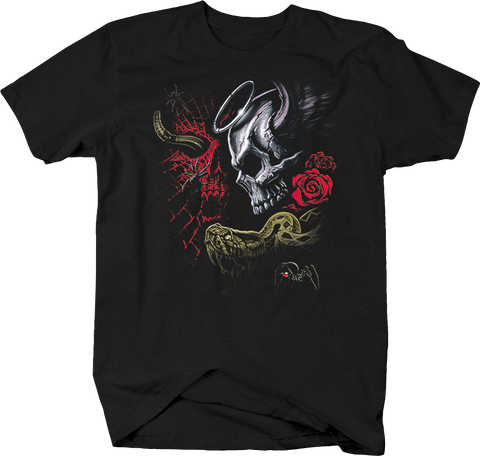 Skull with Halo and Angel Wings Devil and Horns Red Roses Snake
