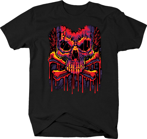 Pink Purple Red Skull and Cross Bones Creapy Scary Spooky Terror