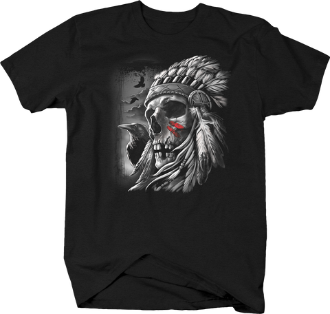 Navajo Indian Chief Skull Red Blood Crow Freedom USA Merica Night