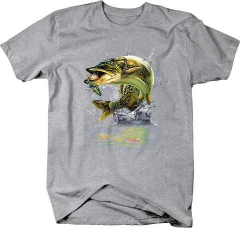 Hooked Walleye Jumping Out of Water Graphite Tee