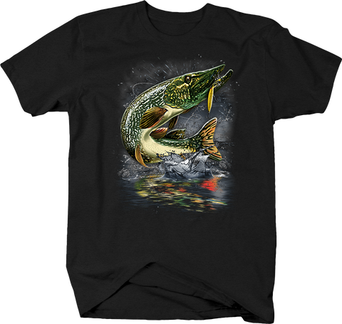 Walleye Jumping Out of Ocean Water Fishing Black T-Shirt