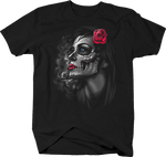 Beautiful Skull Women With Red Rose on Head Loving Blue Eyes