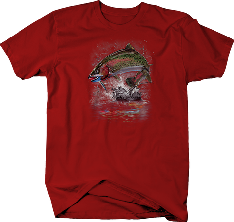 Colorful Fish Jumping Out of Ocean Water Red Tee