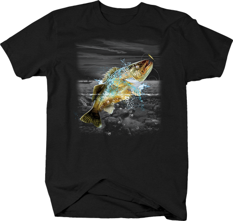 Big Fish Jumping Out of Water Black T-Shirt