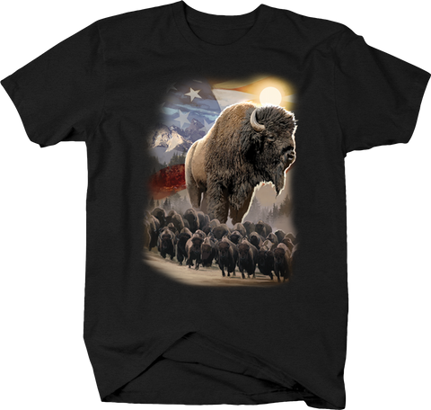 Big American Bison and Heard Running Down Mountain America USA