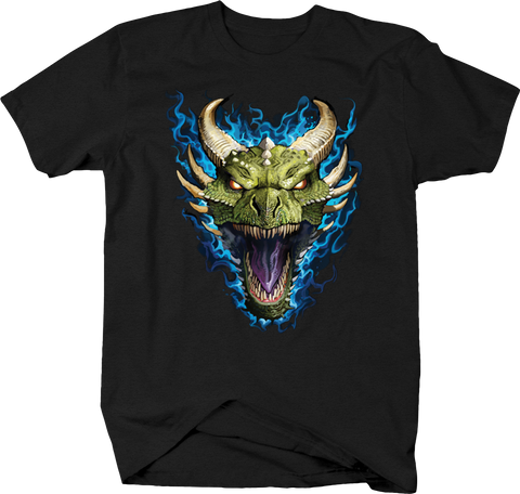 Green Dragon Head Screaming Blue Flames Horrow Scary Spooky