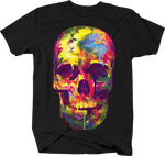 Multi Color Melting Paint Skull Horror Spooky Cool Scary
