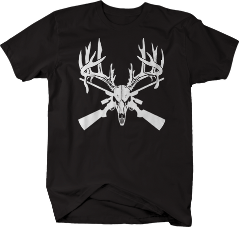 Deer Skull Big Rack Crossed Hunting Rifles