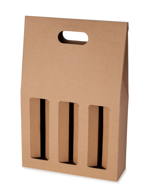 3 Bottle Gable Top Wine Box - Kraft