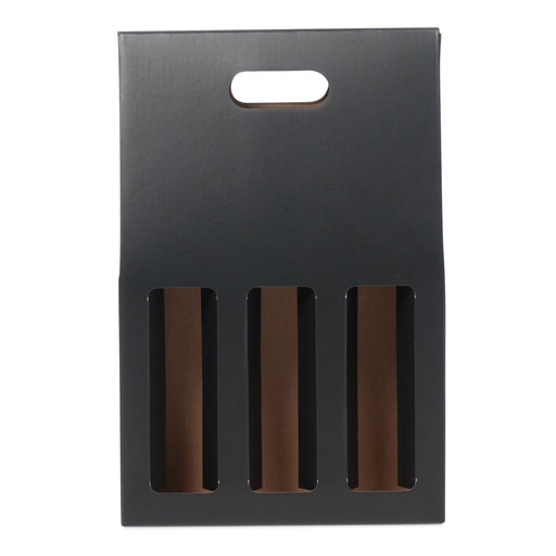 3 Bottle Gable Top Wine Box - Black