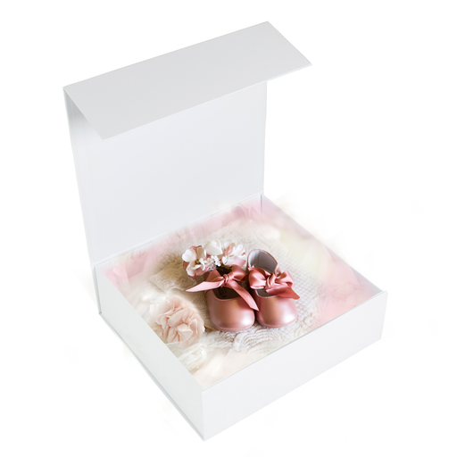 Gift Box Square Slim - Magnetic Closure Medium, Matt White - Sample