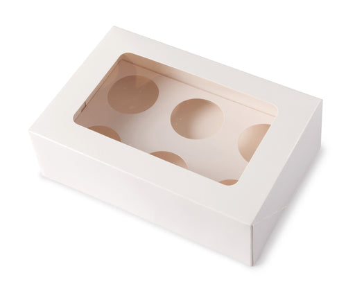 Six Cupcake Box - White