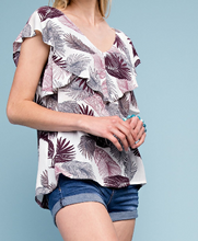 Leaf Print Ruffle Top