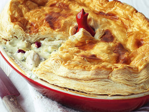 Le Creusets' Chicken, Cranberry and White Stilton Pie