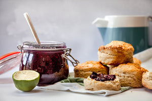 Vanilla Scones with Raspberry and Mint Jam