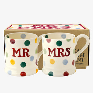 Emma Bridgewater Polka Dot Mr & Mrs Half Pint Mug Set