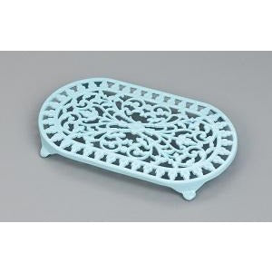Large Pale Blue Oval Trivet