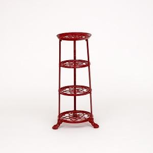 Red Four Tier Pan Stand