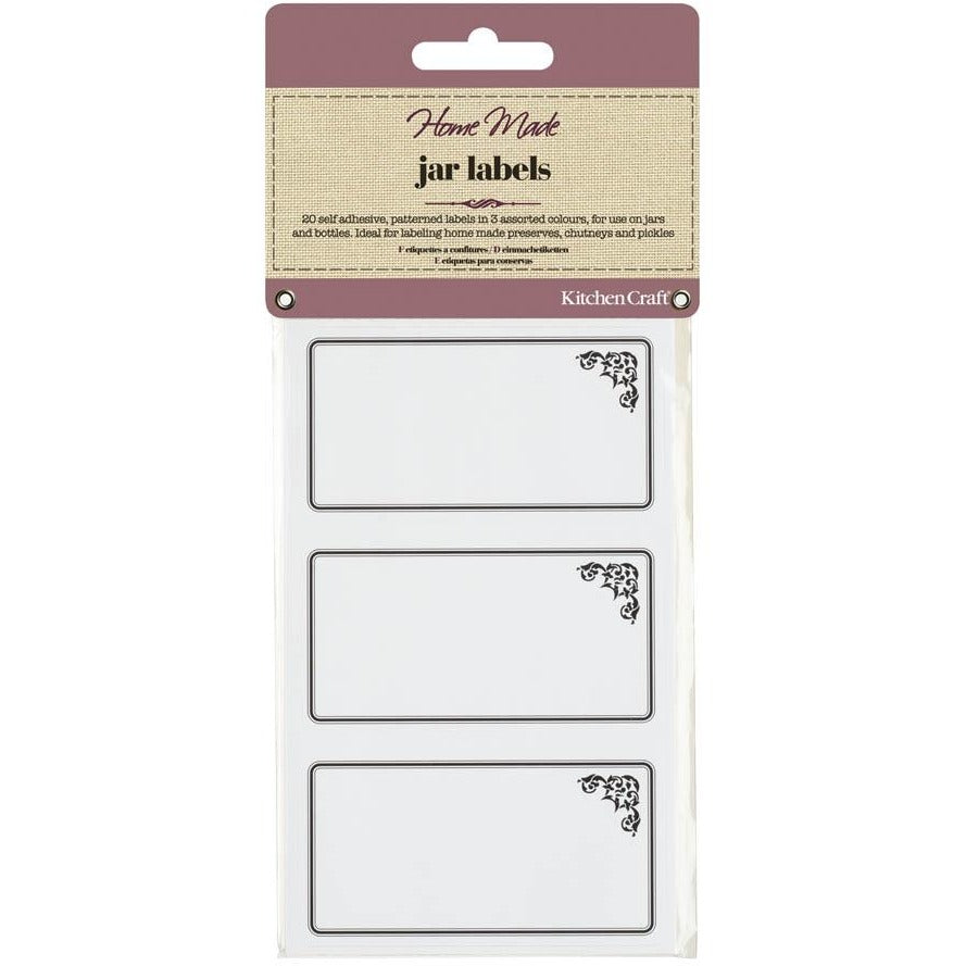 Kitchen Craft 20 Jam Jar Labels - Monochrome