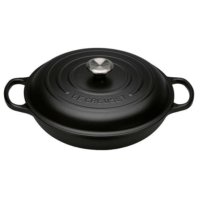 Le Creuset Signature Satin Black Cast Iron Shallow Casserole - All Sizes