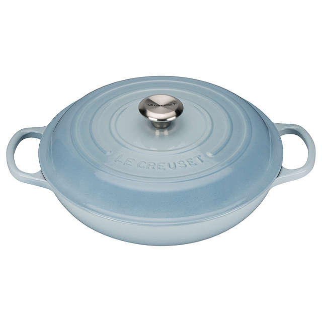 Le Creuset Signature Coastal Blue Cast Iron Shallow Casserole - All Sizes