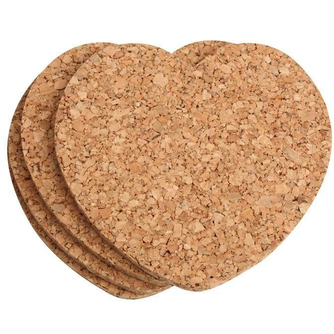 T&G Set Of 4 Heart Cork Coasters