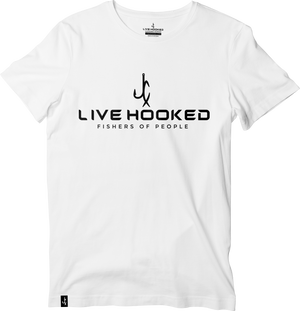"""Live Hooked"" White Classic Tee"