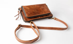 Dark Leather Clutch Crossbody Bag