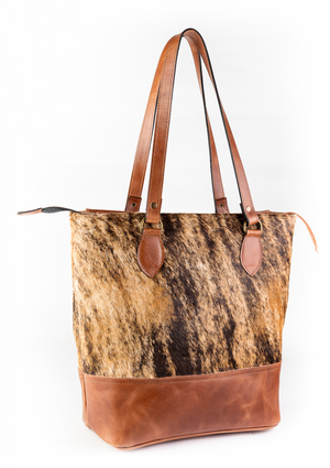Cowhide Tote with Leather Bottom