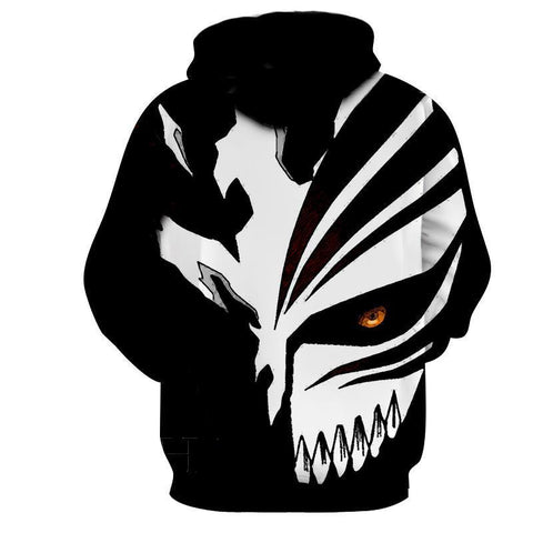 Ichigo Kurosaki Cool Hollow black And White Mask 3D Hoodie - Hoodielovers