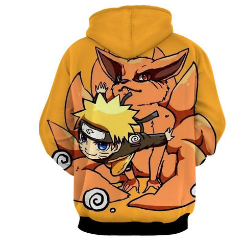 BABY NARUTO AND NINE TAIL 3D JACKET - NARUTO HOODIE - Hoodielovers