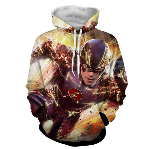 Fast Flash 3D Printed Hoodie - The Flash Jacket - Star Lab Hoodie - Hoodielovers