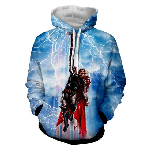 Thor Hoodies - 3D Printed Hoodie - Flying Thor - Hoodielovers