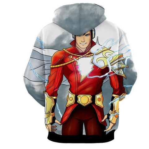 Grey & Red Shazam 3D Hoodie - Jacket - Hoodielovers