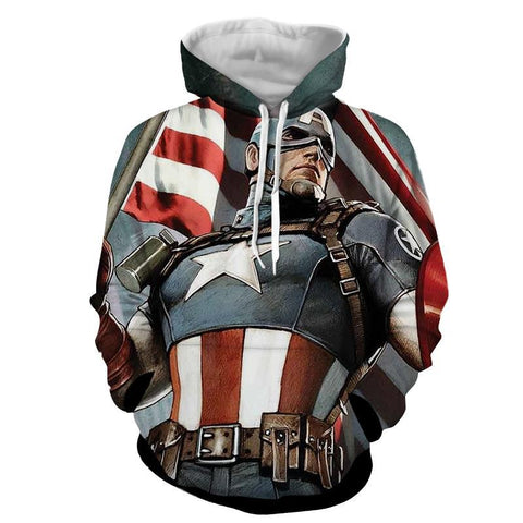 Captain America Full Armor 3D Printed Hoodie - Hoodielovers